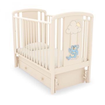 Кроватка детская Гандылян Жаклин Мишка на качелях (универсальный маятник) (слоновая кость)