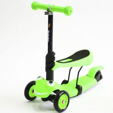Самокат Hubster Lux Frog с сиденьем (зеленый)