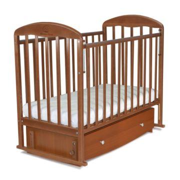 Кроватка детская Альма-Няня Венеция с ящиком (поперечный маятник) (орех)