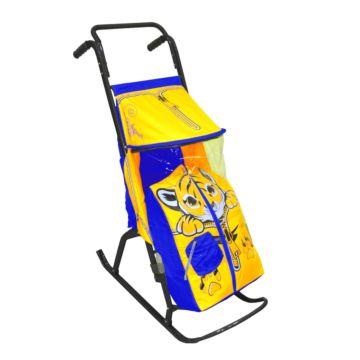 Санки-коляска RT Снегурочка 2-Р Тигренок (сине-желтый)