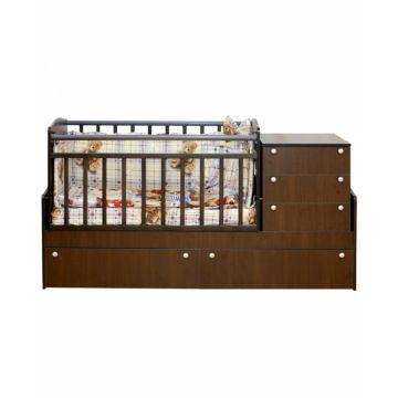 Кровать трансформер Daka Baby Укачай-ка 04 с механическим маятником (Орех)