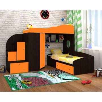 Кровать двухъярусная Ярофф Кадет 2 (венге темный/оранжевый)
