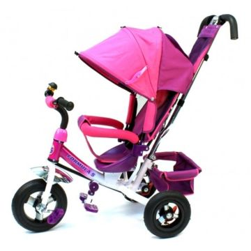 """Трехколесный велосипед Formula Trike F-5000 с надувными колесами 10"""" и 8"""" (розовый)"""