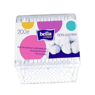 Палочки ватные Bella Cotton в пластиковой квадратной упаковке 200 шт