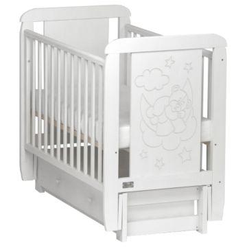 Кроватка Kitelli Orsetto (продольный маятник с ящиком) (Белый)