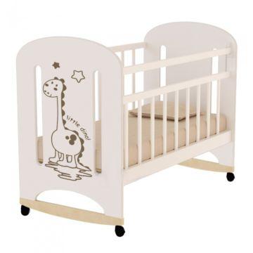 Кроватка детская ВДК Dino (качалка-колесо) (слоновая кость)