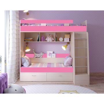 Кровать двухъярусная Ярофф Юниор-6 (дуб молочный/розовый)