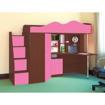 Кровать-чердак Ярофф Пионер (бодего темный/розовый)