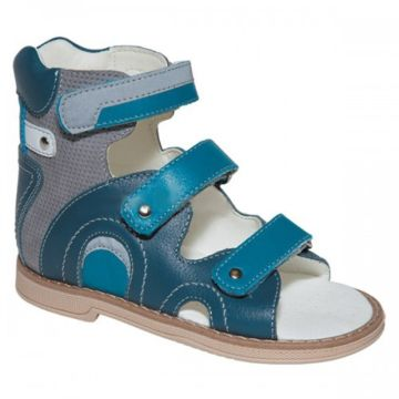 Сандалеты ортопедические Twiki высокие (сине-серые, 21-25)