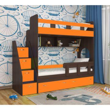 Кровать двухъярусная Ярофф Юниор-1 (венге темный/оранжевый)