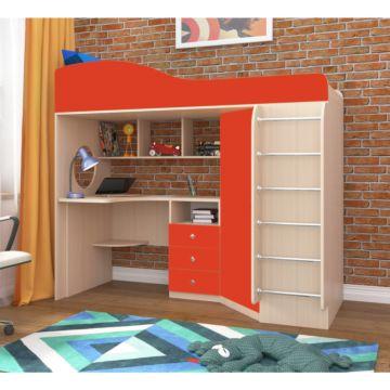 Кровать-чердак Ярофф Кадет 1 с металлической лестницей (дуб молочный/красный)