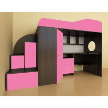 Кровать-чердак Ярофф Кадет 1 (бодего темный/розовый)