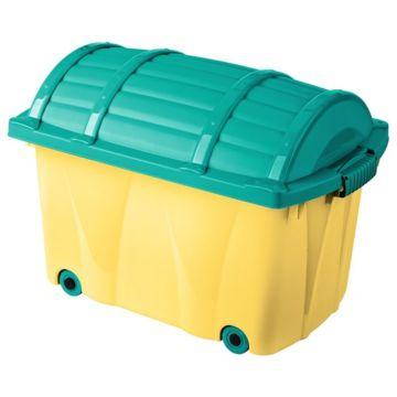 Сундучок на колёсах OKT (Жёлтый/Голубой)