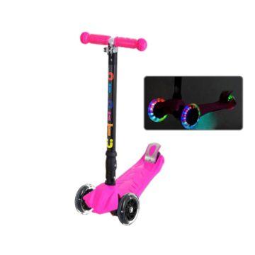 Самокат BiBiTu Play со светящимися колесами (Розовый)