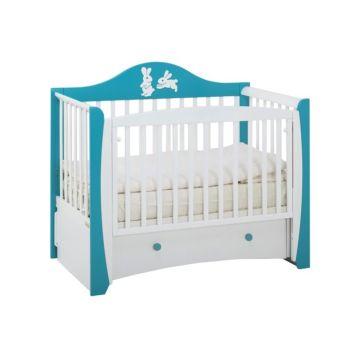 Кроватка детская Papaloni Olivia (продольный маятник) (Морская бирюза/белый)