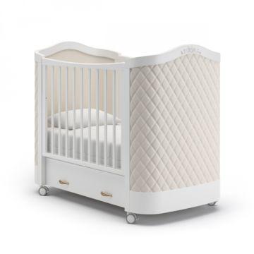 Кроватка детская Гандылян Тиффани с ромбиками (колесо) Белый
