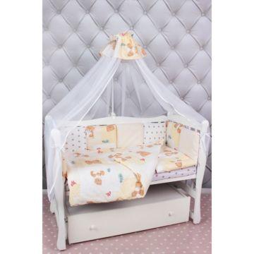 Комплект постельного белья AmaroBaby Мишка (18 предметов, бязь) (бежевый)