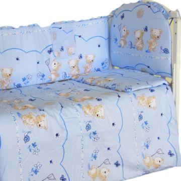 Комплект постельного белья Happy Dreams Медвежата 120х60см (7 предметов, хлопок) (голубой)