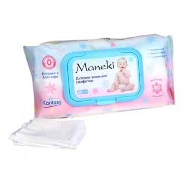 Влажные салфетки Maneki для детей и новорожденных 80 шт