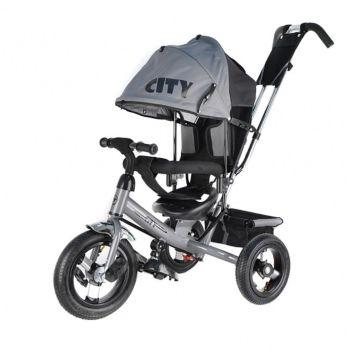 """Трехколесный велосипед City с надувными колесами 12"""" и 10"""" (серый)"""