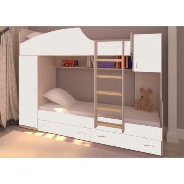 Кровать двухъярусная Ярофф Юниор-2 (дуб молочный/белое дерево)