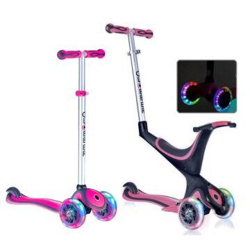 Самокат Globber Evo 5 in 1 со светящимися колесами и регулировкой руля (розовый)