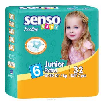 Подгузники Senso Baby Ecoline Junior Extra (15-30 кг) 32 шт