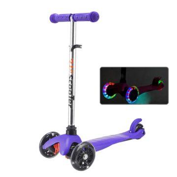 Самокат 21st Scooter Mini Up Flash со светящимися колесами и регулировкой руля (фиолетовый)