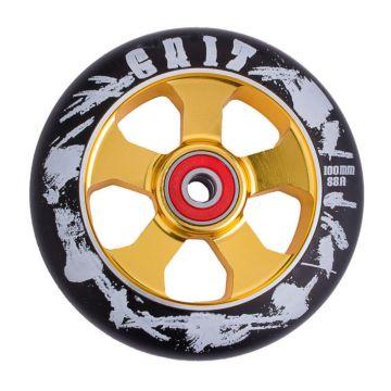 Колесо для самоката Grit Alloy Core Black Max Drilled 110мм ABEC 9 (золотисто-черное)