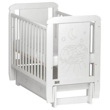 Кроватка детская Kitelli Micio (продольный маятник с ящиком) (Белый)