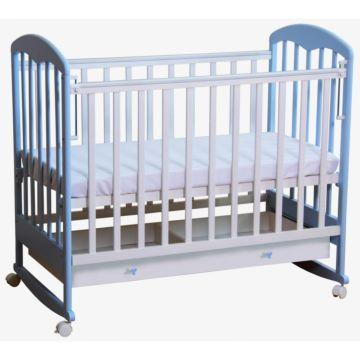 Кроватка детская Фея 325 светлая (качалка-колесо) (Белый-лазурь)