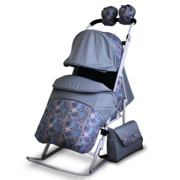 Санки-коляска Kristy Comfort Plus (снежинки темно-серый)