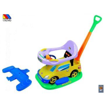 Каталка-автомобиль Molto Пикап с ручкой + клаксон (Желтый)