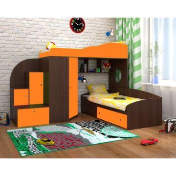 Кровать двухъярусная Ярофф Кадет 2 (бодего темный/оранжевый)