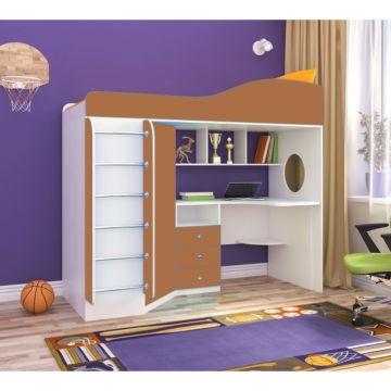 Кровать-чердак Ярофф Кадет 1 с металлической лестницей (белое дерево/вишня оксфорд)
