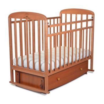 Кроватка детская Альма-Няня Милана с ящиком (поперечный маятник) (орех)