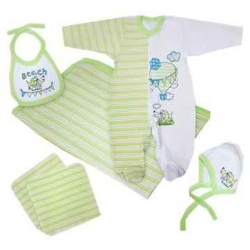 Комплект одежды для малыша Little People с комбинезоном 6 пр. (зеленый)