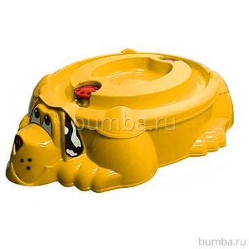 Песочница-бассейн Palplay Собачка с крышкой (Оранжевый)