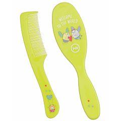 Набор детских расчёсок Happy Baby Basic Brush & Comb Set (Лайм)
