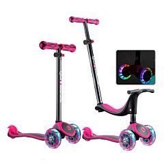 Самокат Globber Evo 4 in 1 Titanium с 3-мя светящимися колесами (neon pink)
