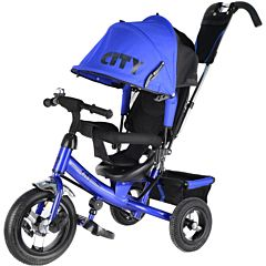 """Трехколесный велосипед City с надувными колесами 10"""" и 8"""" (синий)"""