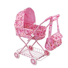 Коляска для куклы Fei Li Toys с сумкой (розовая) FL8127