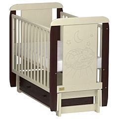 Кроватка детская Kitelli Micio (продольный маятник с ящиком) (Бежево-коричневый)