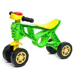 Беговел-мотоцикл RT Самоделкин ОР171 с клаксоном 4 колеса (зеленый)