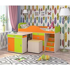 Кровать-чердак Ярофф Малыш Люкс (дуб молочный/лайм/оранжевый)