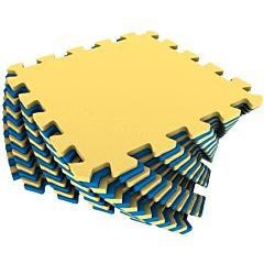 Мягкий пол Экополимеры 25*25 (желто-синий)