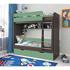 Кровать двухъярусная Ярофф Юниор-5 (венге темный/зеленый)