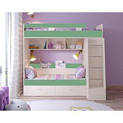 Кровать двухъярусная Ярофф Юниор-6 (белое дерево/зеленый)