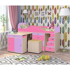 Кровать-чердак Ярофф Малыш Люкс (дуб молочный/ирис/розовый)