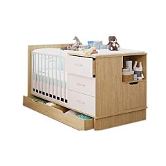 Кроватка-трансформер Polini Classic с комодом (дуб - белый глянец)